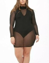 Forever 21 Sheer Mesh Turtleneck Black Sexy Dress Long Sleeve Plus Size 1X NEW image 1