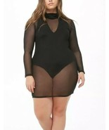 Forever 21 Sheer Mesh Turtleneck Black Sexy Dress Long Sleeve Plus Size ... - $13.85