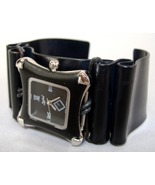 Black Silver Square Faced Wristwatch Unisex Alu... - $124.00