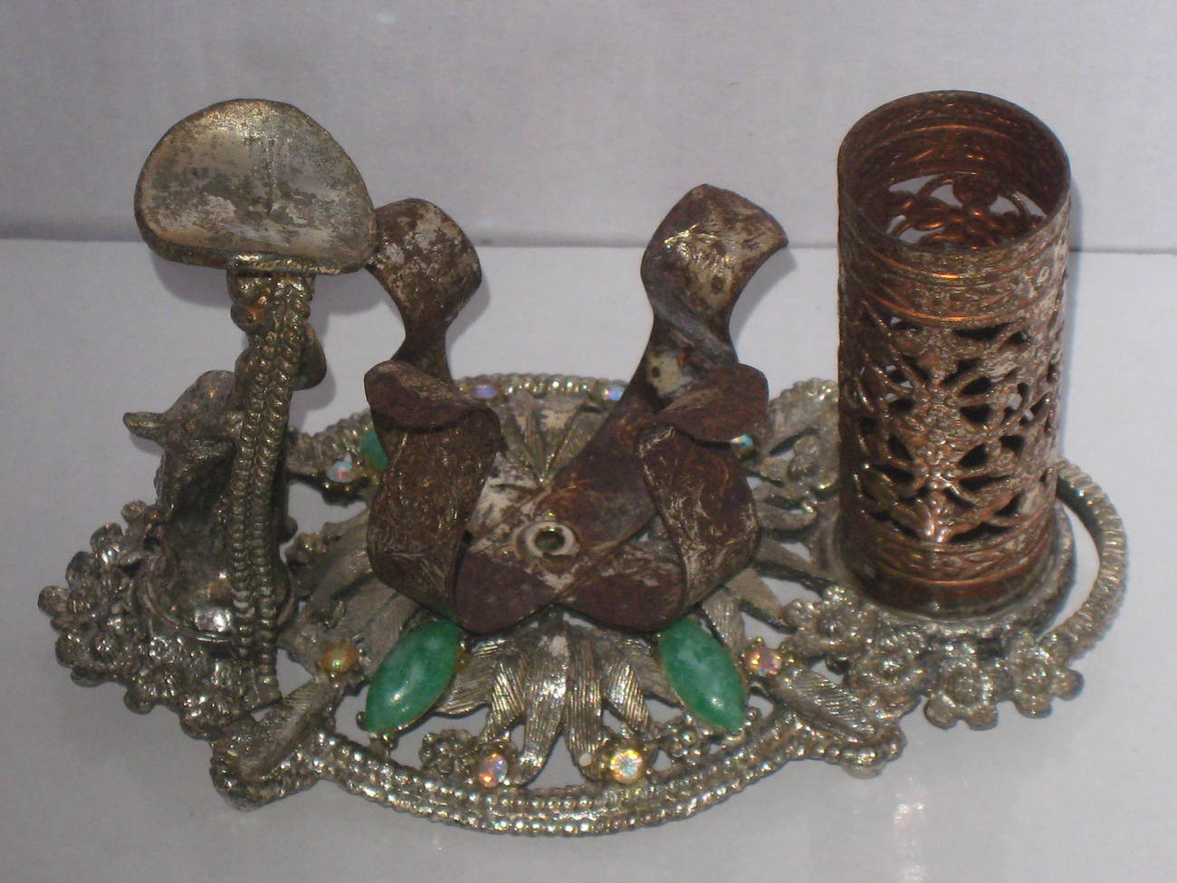 Antique silver, gold colored filigree lipstick, polish, & perfume bottle holder