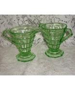 Indiana Glass- Tea Room Open Sugar Bowl & Creamer-Green-1920's - $40.00