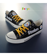 Steelers shoes womens sneakers pittsburgh fans fashion mens custom canva... - $55.99
