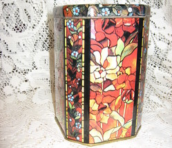 Tin Canister - Octagon Shape-Stained Glass Effect - $7.00