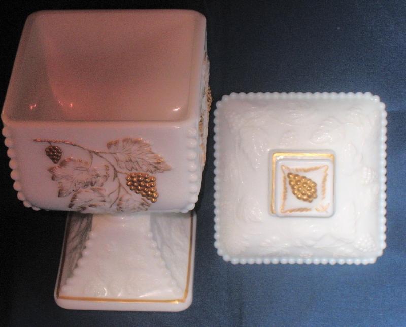 Rare Vintage Westmoreland Paneled Milk Glass with Gold Grape, Wedding Bowel