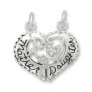Sterling Silver Mother / Daughter Break-Away Heart Charm