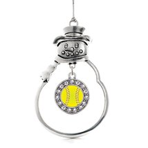 Inspired Silver Softball Circle Snowman Holiday Christmas Tree Ornament With Cry - $14.69