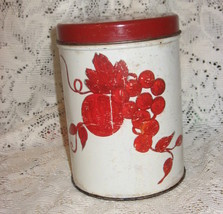 Tin Canister-VTG-Fruit and Floral-Red-2 pc - $7.00