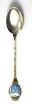 "800 Fine Silver REU Wiesbaden Blue Yellow Crest Seal Demitasse Spoon 3-7/8"" - $19.79"
