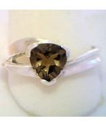 Smoky Quartz Trillion Handmade 925 Sterling Silver Ladies Flair Ring siz... - £56.69 GBP