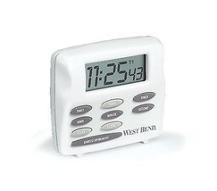 West Bend 40053 Triple Timer with Clock White - $25.98