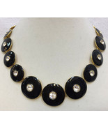 "Collar Necklace Rhinestones Black Enamel Discs Gold Tone Metal Vintage 16"" - $12.22"