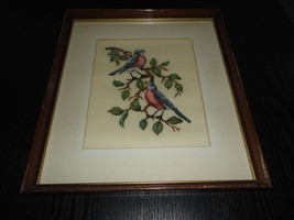 Vintage Eaton Co. Canada Picture Dept Original Needlepoint Birds Framed Art - $338.45