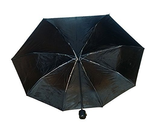 Black Compact Waterproof Polyester Umbrella with a 38 inch shade when expanded