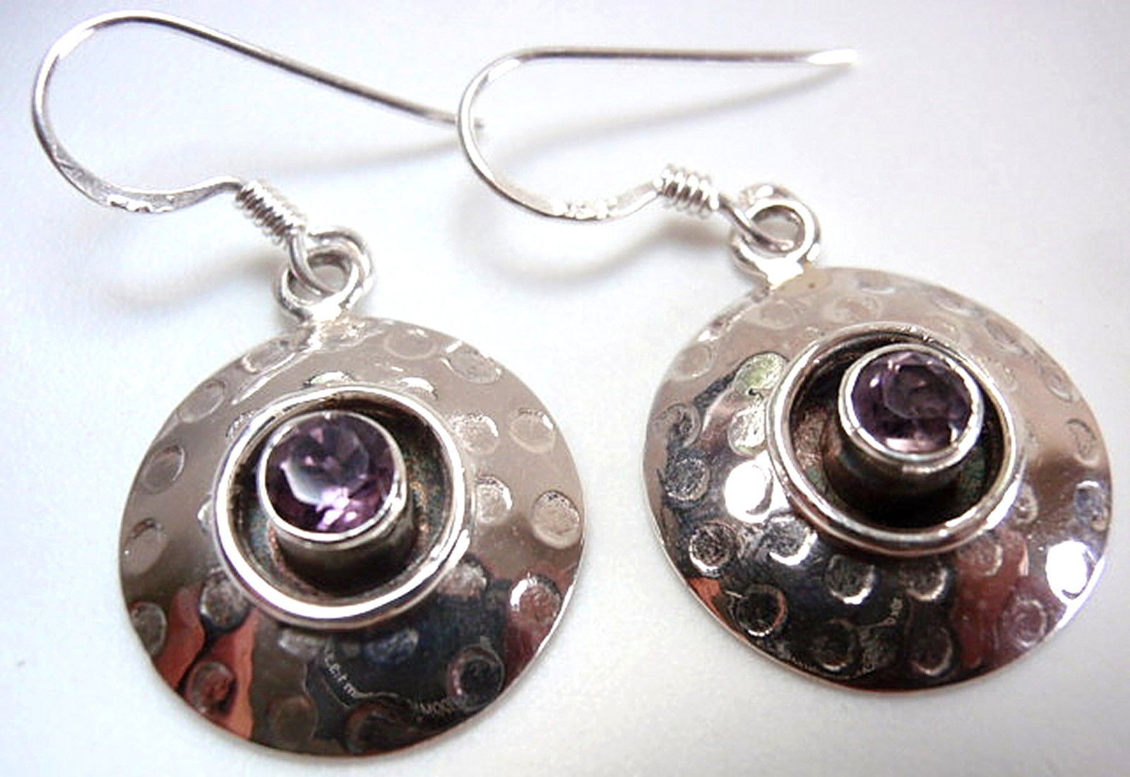 Primary image for Faceted Amethyst Hammered Silver Border 925 Sterling Silver Dangle Earrings
