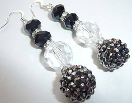 BLaCk, CRysTaL SwArOvSki RoNdEll SpAcer DaNgLe EaRrInGs - $14.99