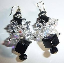 BLaCk CRysTaL AB WiTh SwArOvSki SpAcer DaNgLe EaRrInGs - $14.99