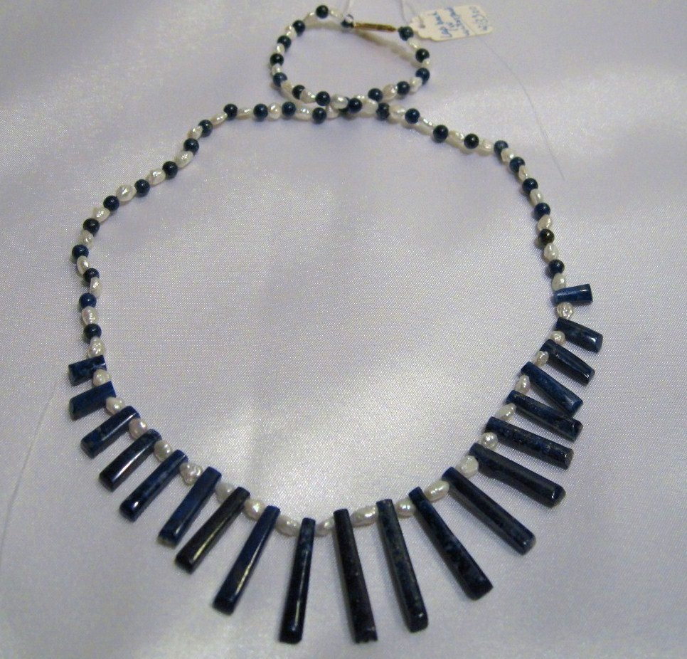 ESTATE Handcraft gemstone Lapis /pearl EGYPTIAN necklace/cho
