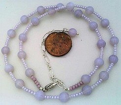 Lavender Opal Glass Beaded Necklace - $27.15