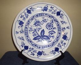 Staffordshire Blue Onion Dinner Plate, Blue Flora Design on White Background  - $12.00
