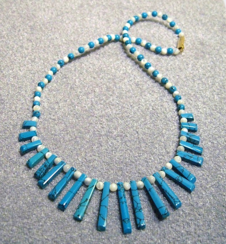 ESTATE Handcraft gems TURQUOISE MOP EGYPTIAN necklace16""