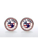 Cufflinks US ARMY  Silver Plated Glass CUFF LINKS Military Veteran Memo... - $14.80+