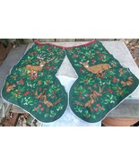 2 Christmas Stocking Cut Sew Fabric Panel Quilted VIP Cranston Deer~Doe ... - $15.00
