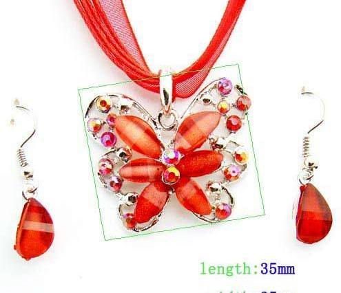 Red Butterfly Acrylic Gemstone Necklace and Earring Set