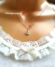Tiny Mint Gem Necklace Tiny Gold Branch Lariat Necklace Mint Glass Gem N... - $38.00+