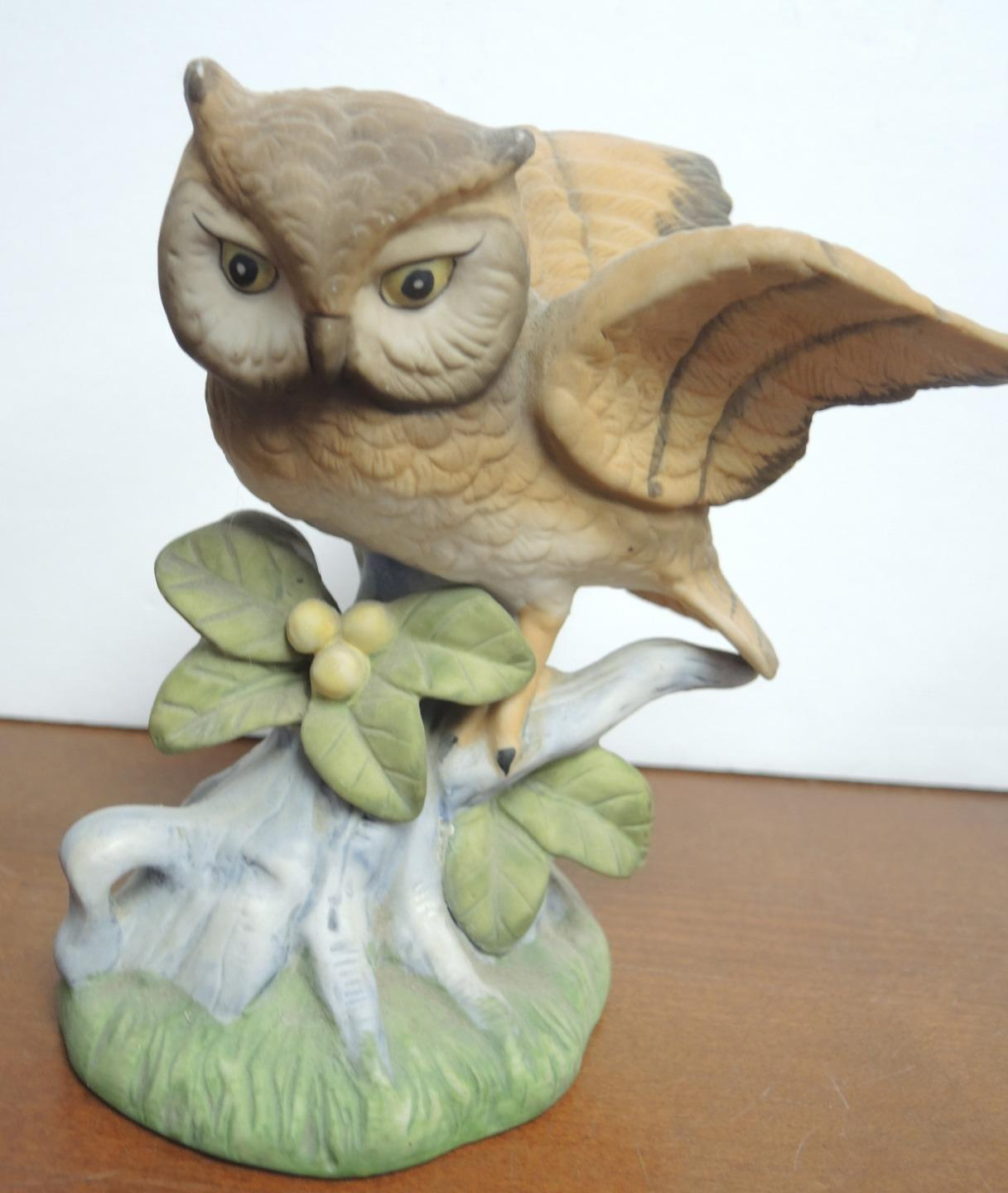 Two Vintage Brown Horned Owls Perched On Leaves & Berries Limb Figurines image 9