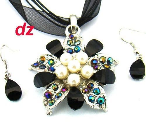 Black  Lady  Gemstone Flower Necklace and Earring Set