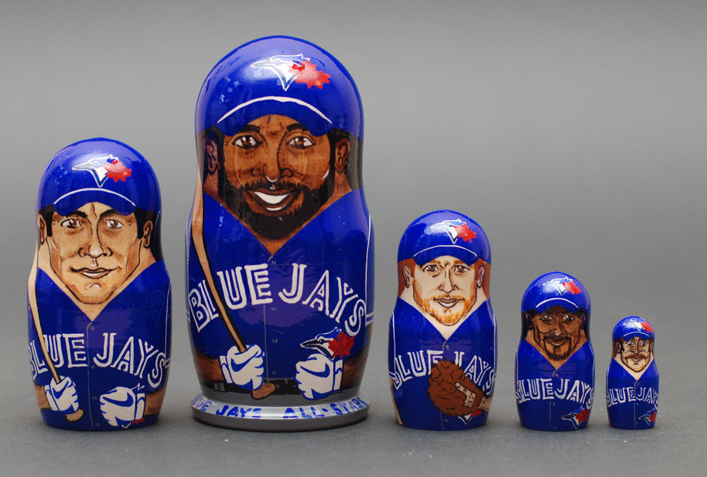 Toronto Blue Jays matryoshka nesting dolls babushka doll 5pc, 6""