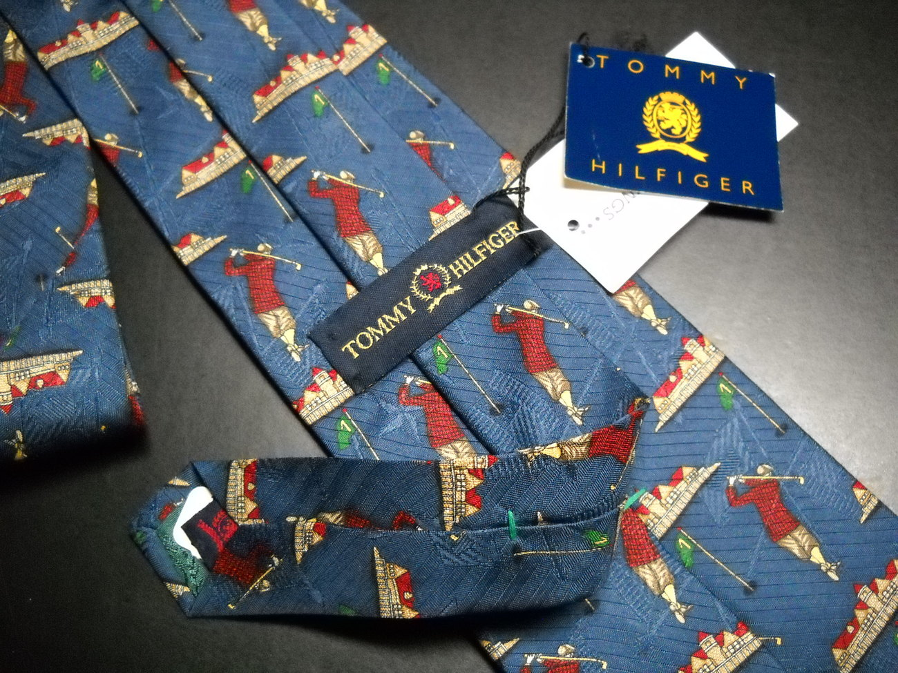 Tommy Hilfiger Neck Tie Blue With Golfing Unused With Original Paper Tags