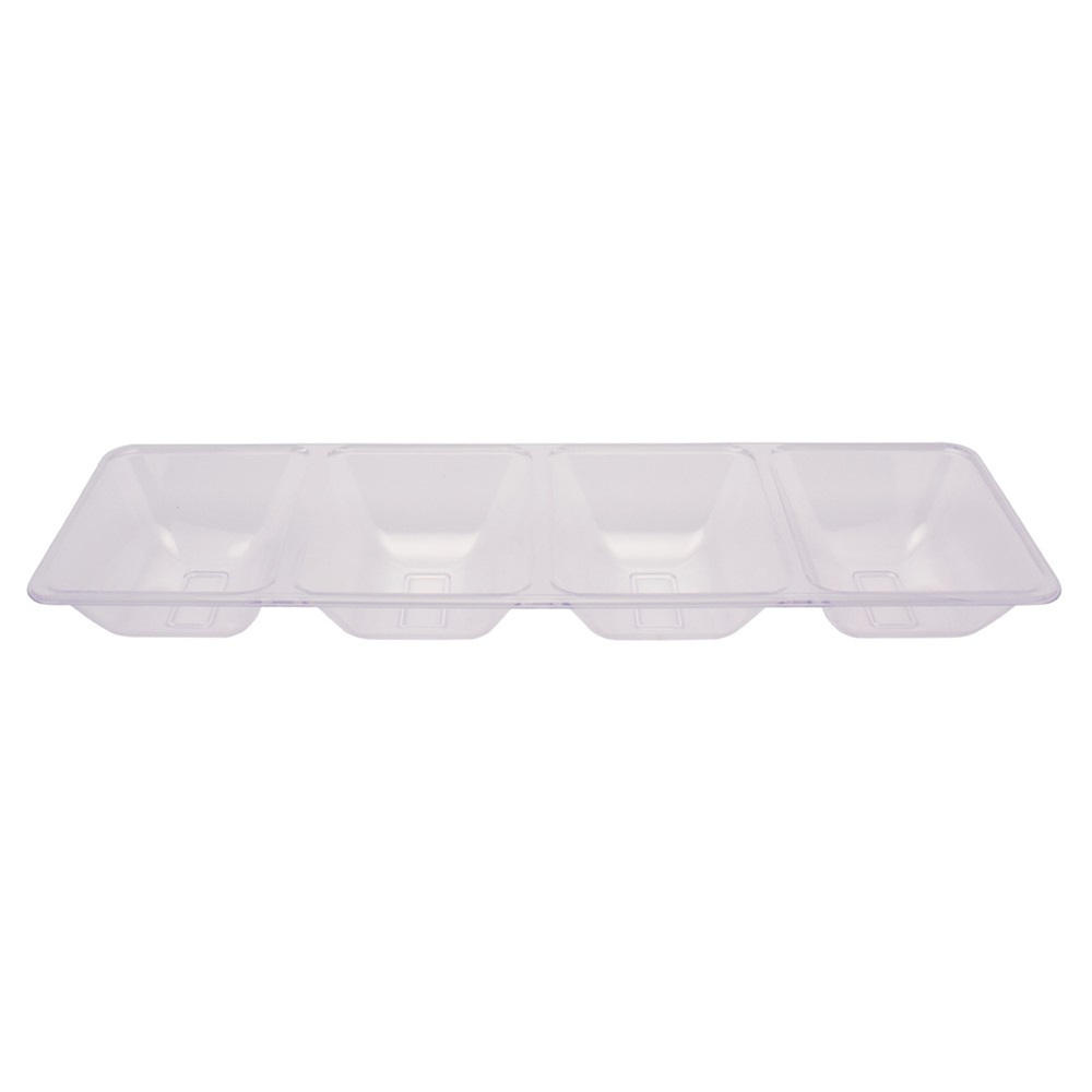 Form and Function Clear 16 inch Plastic 4 Compartment Tray/Case of 6