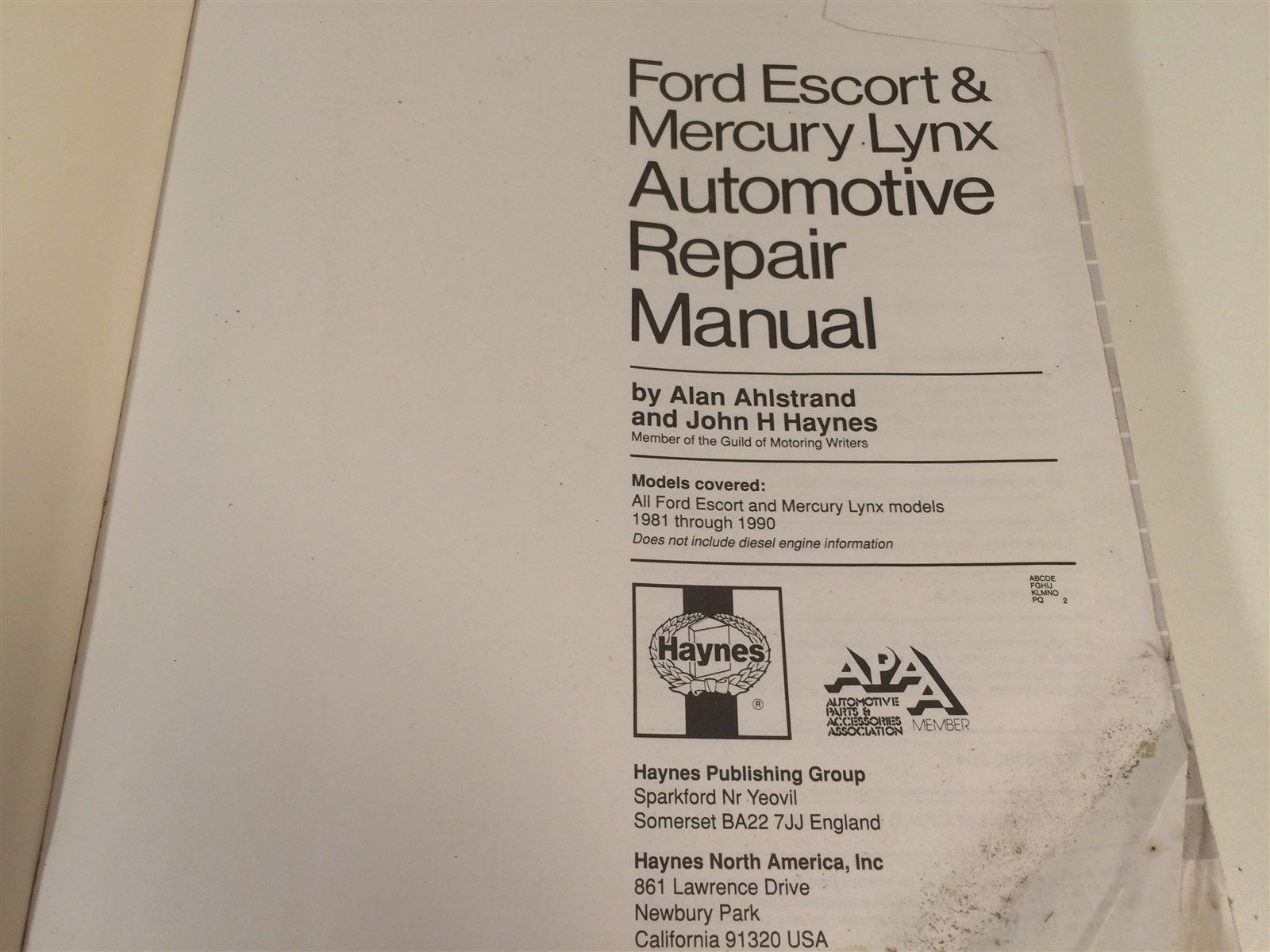 1981 thru 1990 Haynes 789 Ford Escort & Mercury Lynx All Gasoline Engine Models