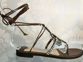 JIMMY CHOO Bronze Leather Strappy Sandals w/ Beaded Front Sz 35.5/US 5.5 $525 image 4