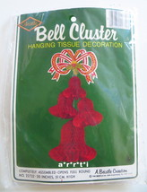 Beistle Bell Cluster Christmas Red 1979 Vintage Hanging Tissue Decoratio... - $14.00