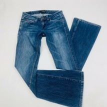 Levis 524 Womens Jeans 1M Blue Too Superlow Skinny Flare Stretch Distres... - $51.29