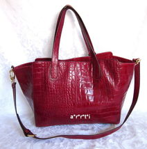 Cynthia Rowley Red Croc Embossed Leather Tote Bag Retail $350 NWT - $140.00
