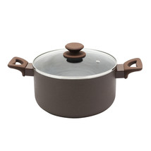 Oster Ashford 6 Quart Aluminum Dutch Oven with Tempered Glass Lid in Brown - $38.54