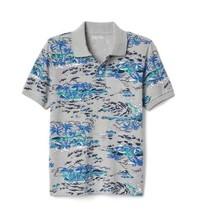 Gap Kids Boys Polo 12 Heather Gray Blue Ocean Print Short Sleeve Pique C... - $17.95