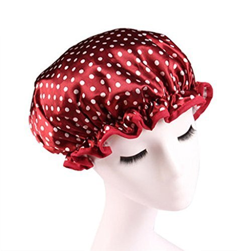 Stylish Design Waterproof Double Layer Shower Cap Spa Bathing Caps, Wine