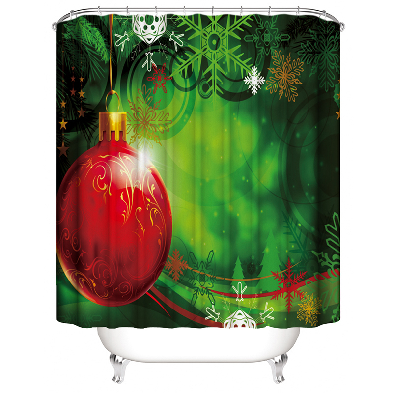 New Year Tree Curtains For Bathroom Waterproof Cortina Navidad Christmas Decorat