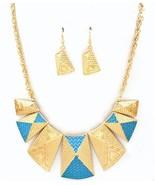 Designer look Turquoise enamel gold tone Grecia... - $24.74