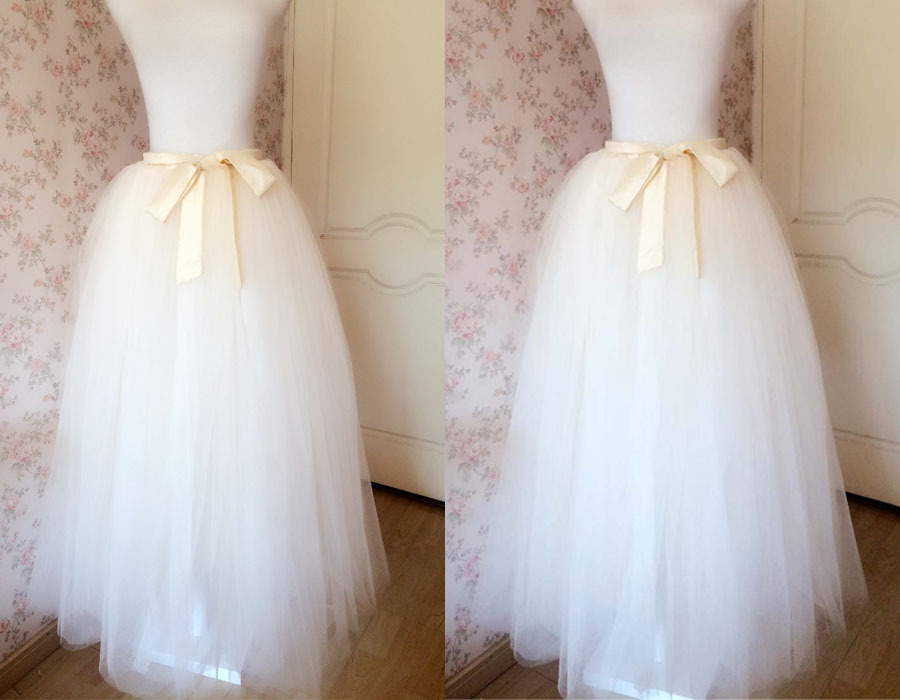 6 Layered IVORY Tulle Skirt Bridal Tulle Skirt Plus Size Wedding Skirt Separate