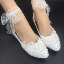 Women ivory flat shoes for wedding,shoes for wedding with pearls,dressy flats - £30.95 GBP