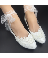 Women ivory flat shoes for wedding,shoes for wedding with pearls,dressy ... - £30.95 GBP