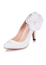 Simple Lace Upper Closed Toe Stiletto Heels Wedding/ Bridal Party Shoes - $43.99