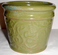 Ceramic Votive Candle Holder ~ Green Painted Terra Cotta + Tea Light - $4.00