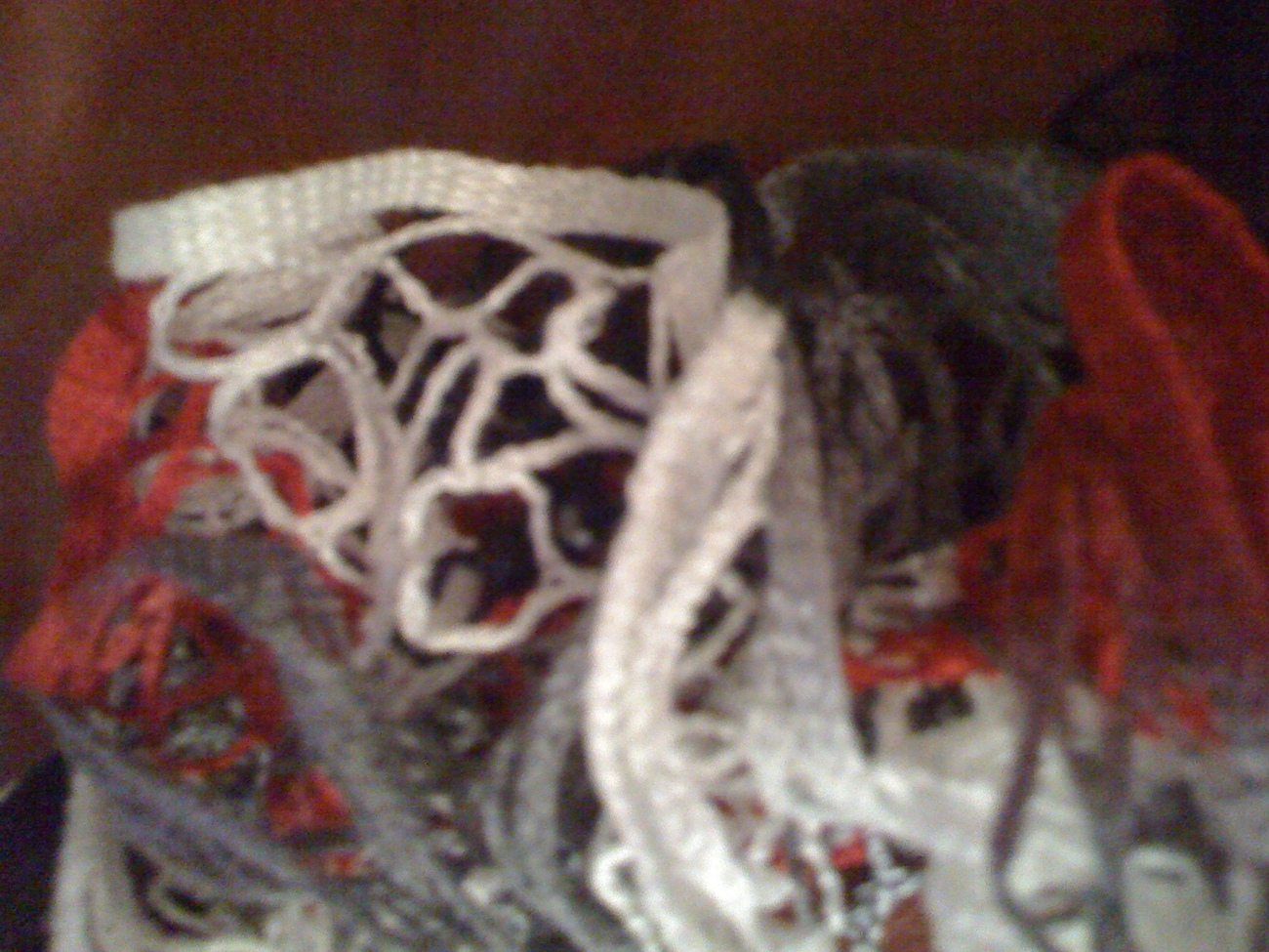 Exquisite hand knit frilly red, white, & black festive fashion scarf
