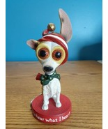 Rare Twisted Whiskers Holiday Chihuahua dog w/mismatched ears Bobblehead  - $74.25